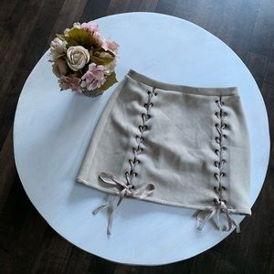 Honey Punch suede lace up mini skirt
